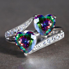 Double Heart Rainbow CZ Ring in Rhodium Plated Wedding Bands