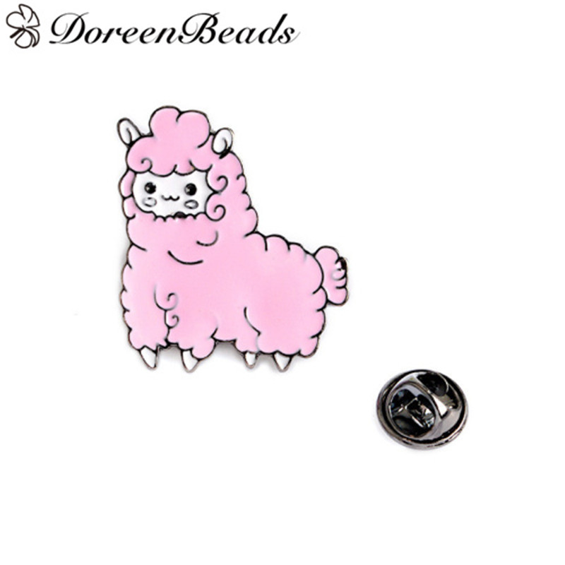 DoreenBeads Pink Cute Animal Sheep Badges 3D Enamel Pin Brooch for Boys Girls T Shirt Collar Coats Bags Sweater Christmas Gift