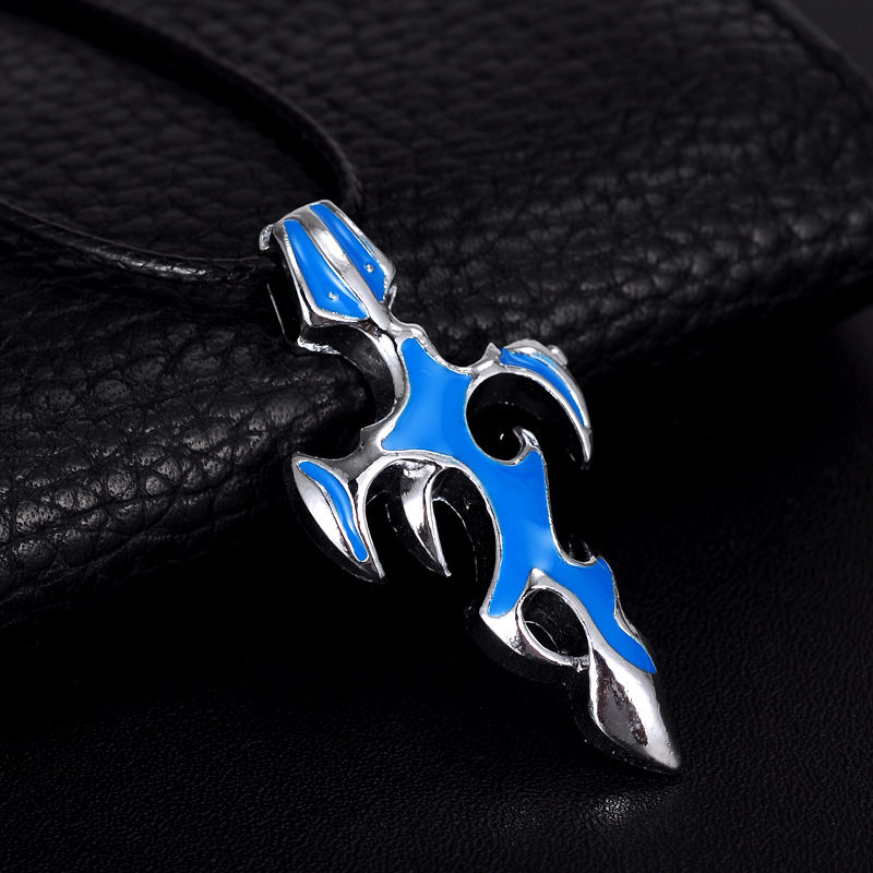 Stainless Steel Prayer Cross Bible Pendant Necklace with Chain Fashion Jewerly Gold Black Blue Silver Colors Selection XL32