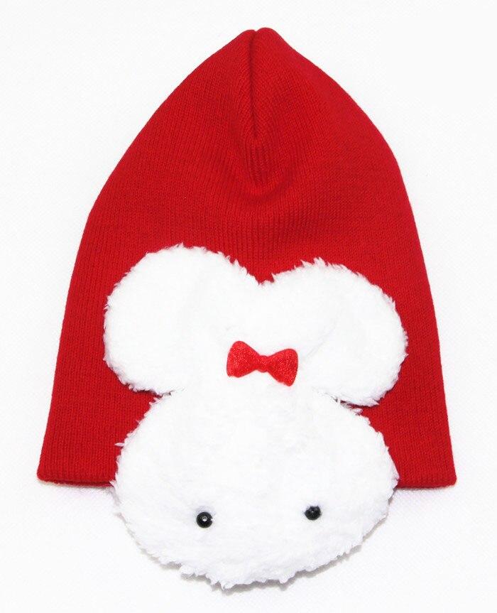 1 шт., 5 цветов, хлопковая шапка с рисунком кролика, детские шапки, детская шапка - Цвет: red