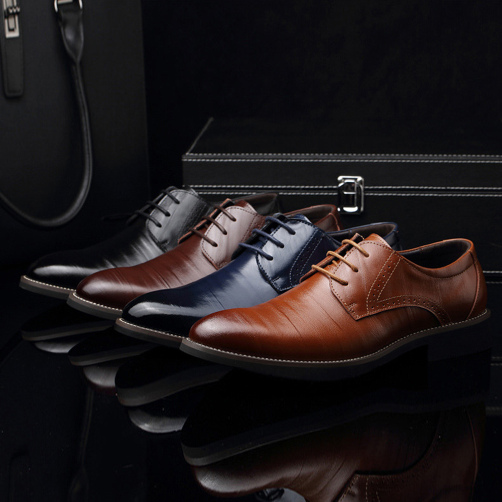 M-anxiu Flat Classic Men Dress  Leather Wingtip Carved Italian Formal  Plus Size Lace Up Pointed Shoes Men Casual Party Shoes