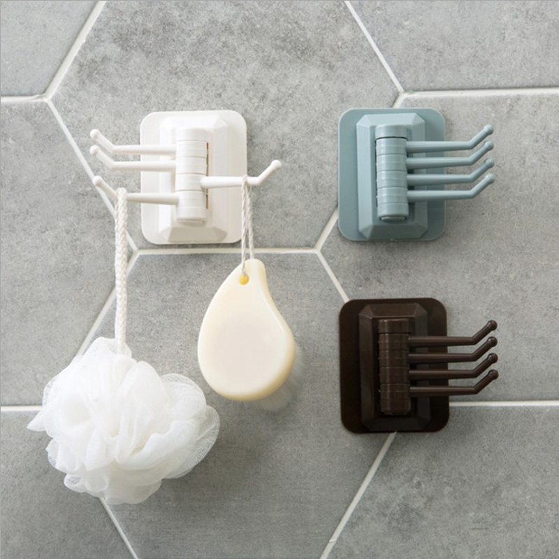 Bathroom Kitchen Hooks No Trace Hanging Adhesive Hooks Sticky Wall Bathroom Kitchen Four Hooks Can Be Rotated Storage