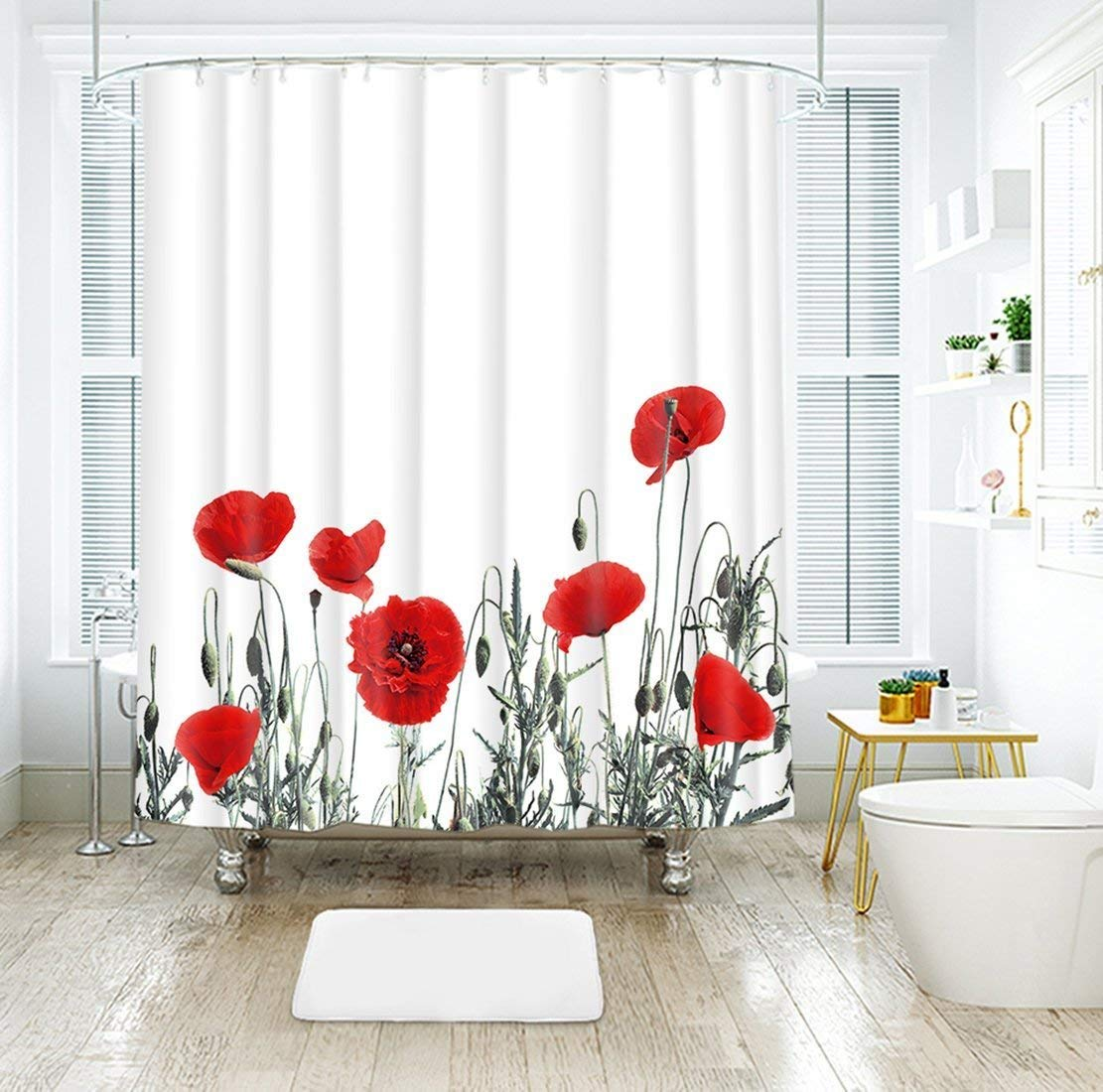 Us 17 38 25 Off Red Poppy Floral Fabric Shower Curtain Bath Curtain Meadow Wildflower Spring Season Painting Fabric Bathroom Bath Curtains In Shower