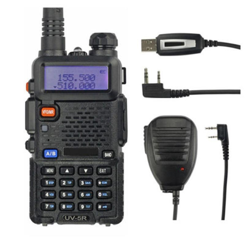 Baofeng UV-5R Kit 136-174/400-520MHz 2M/70cm Walkie Talkie 5W Portable Ham Radio + Remote Speaker + Programming Cable Uv5r