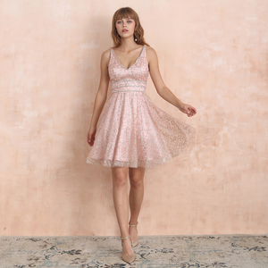Image 3 - VKbridal Glitter Deep V neck Mini Length Crystal Graduation Dress Sparkling Prom Gowns Junior for Girl Short Homecoming Dresses