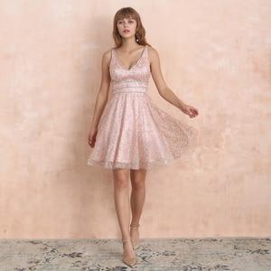 Image 3 - VKbridal/блестящее мини платье с глубоким v образным вырезом и кристаллами для выпускного вечера, сверкающие платья для выпускного вечера, короткие платья для девочек