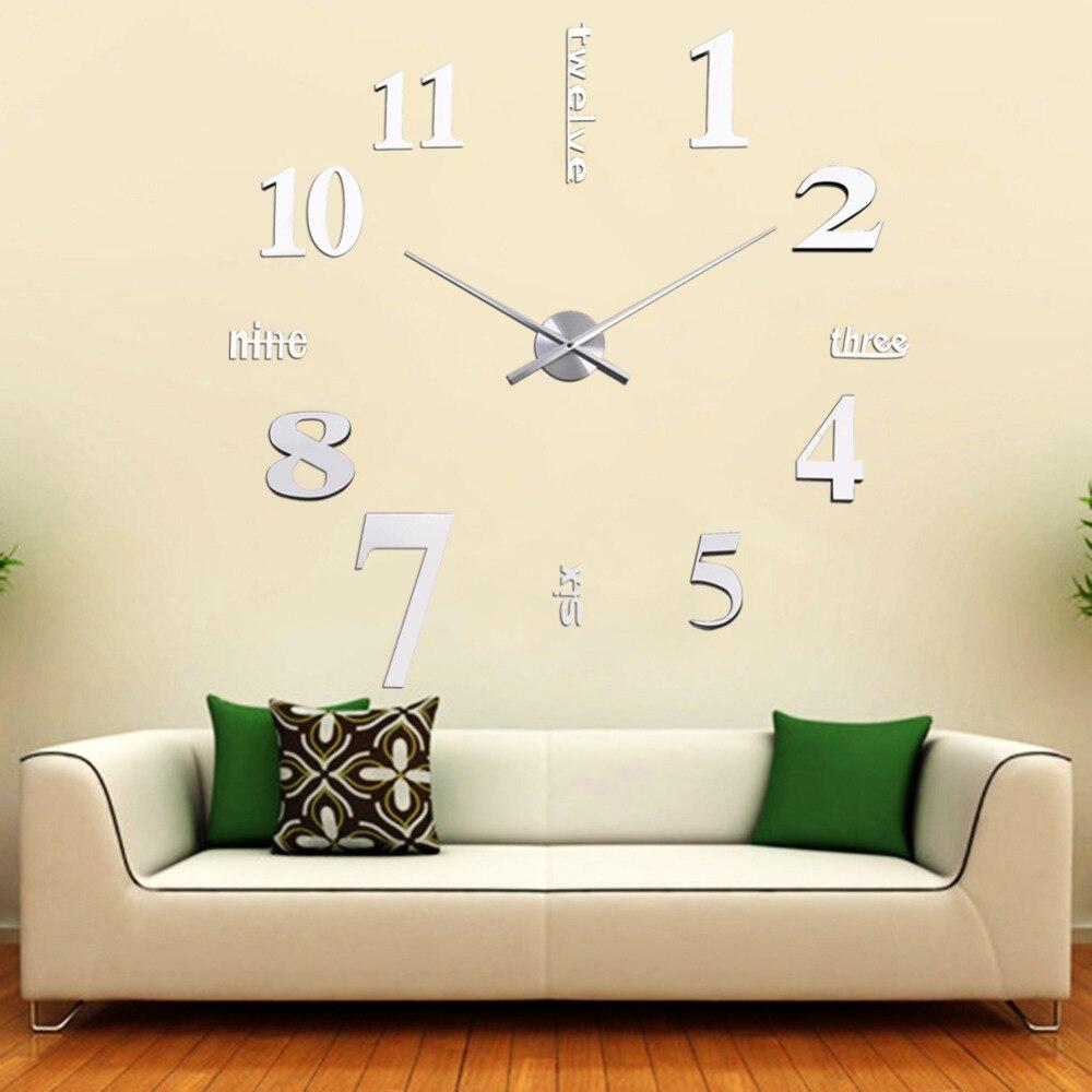 b4d134136bf8 Nueva Moda DIY Digital de Gran Reloj de Pared Grande Reloj Decoración  Regalo Único plata Tyrant digital 3D Espejo Etiqueta en Relojes de pared de  Hogar y ...