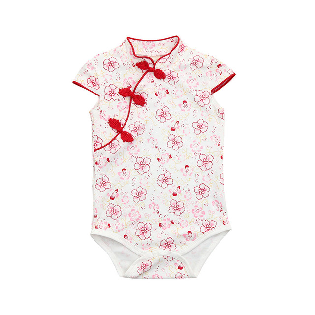 e6b9f8c35 Baby Girl clothes bodysuit Chinese style Romper Flower Print Cheongsa  Sleeveless kid costume cheongsam Baby onesie jumpsuit