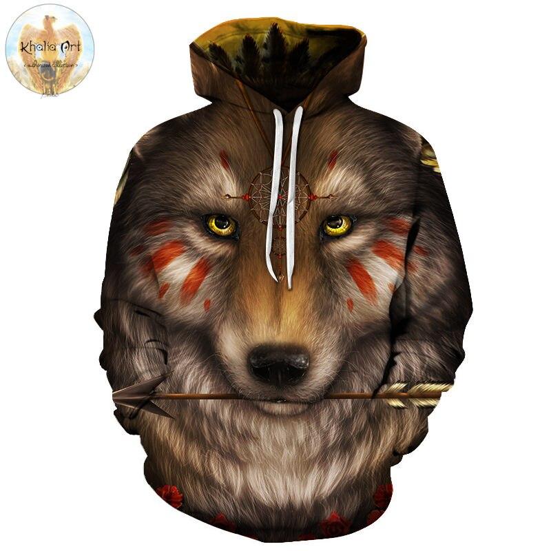Wolf Arrow by Khalia Art Animal 3D Printed Men Casual Hoodies Unisex Sweatshirts Brand Hoodie Pullover Jacket Outdoor Drop Ship