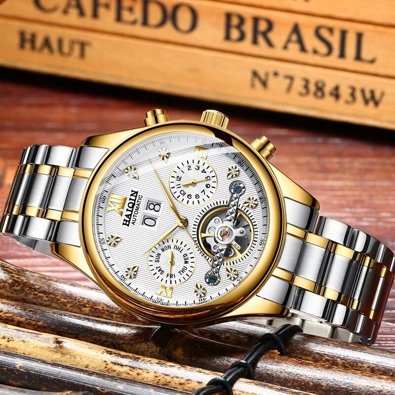 HAIQIN hommes montres automatiques mécaniques hommes montres affaires montre hommes top marque de luxe militaire étanche Tourbillon horloge - 3