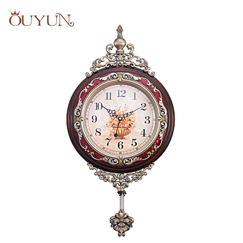ouyun fashion luxury wooden pendulum wall clocks vintage mute creative living room design