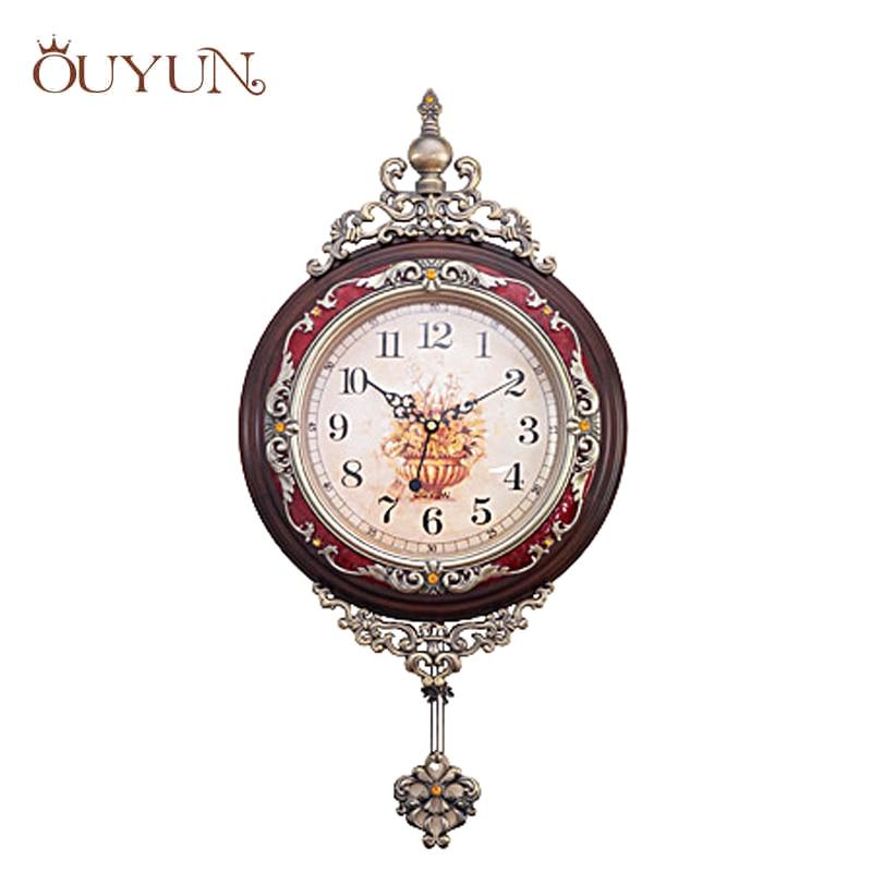 ouyun fashion luxury wooden pendulum wall clocks vintage mute creative living room design handmade large wood - Pendulum Wall Clock