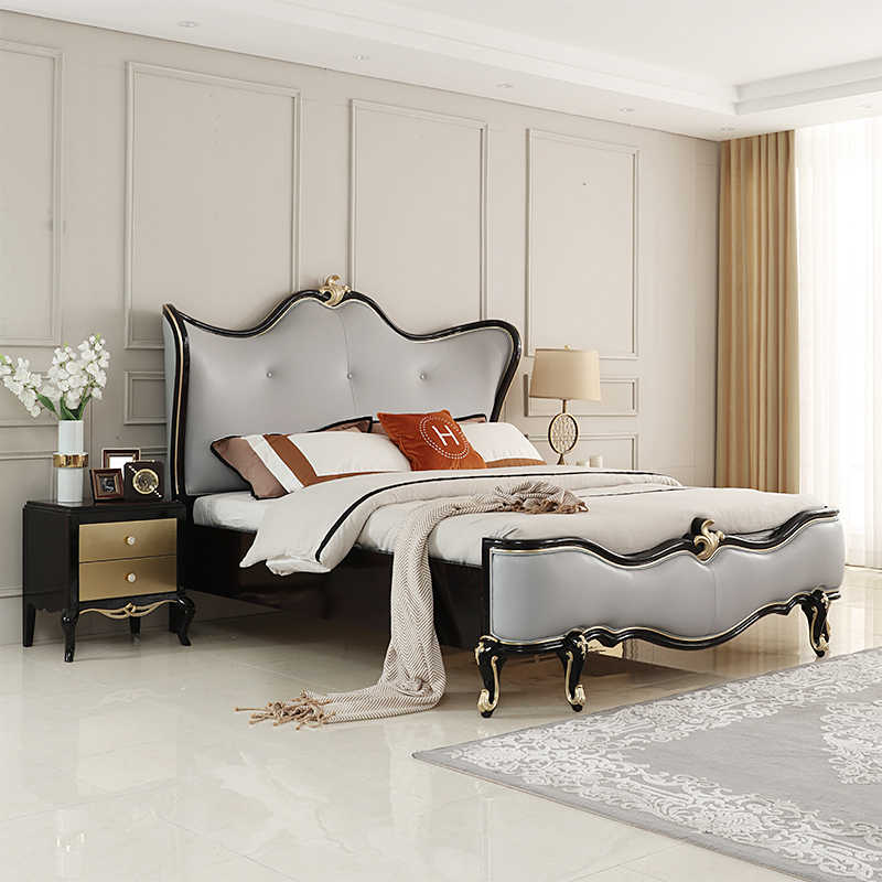 Past-modern nordic style simple design leather bed sets