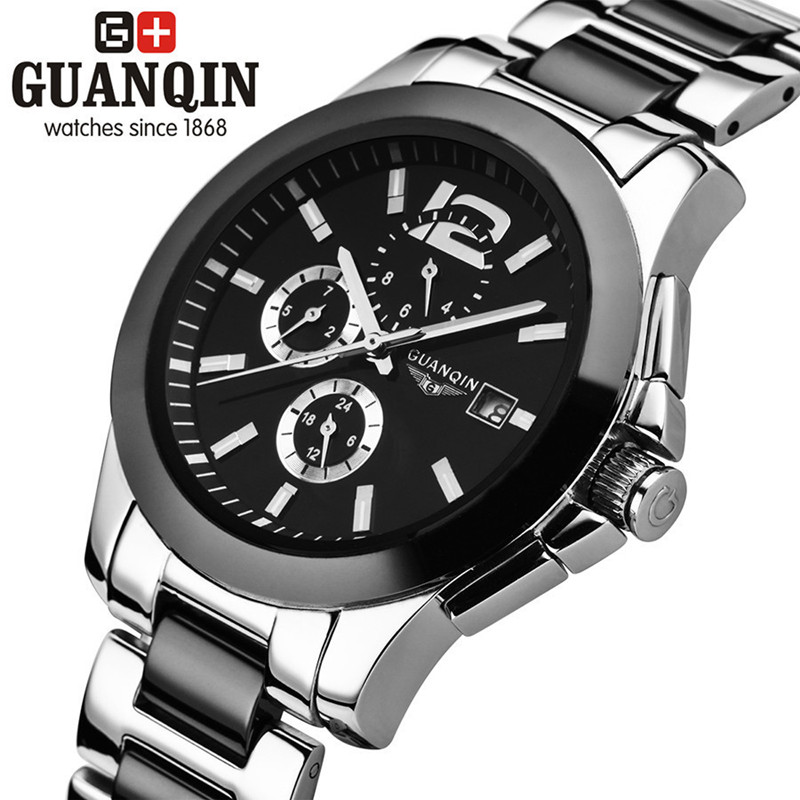 Luxury Brand GUANQIN Men Mechanical Watch Sapphire Steel Men Ceramic Watch Clock Male Wristwatch for Men Relogio Masculino Reloj men mechanical watches men s watch best luxury brand 2017 new burei male steel band hour sapphire waterproof wristwatch hot sale