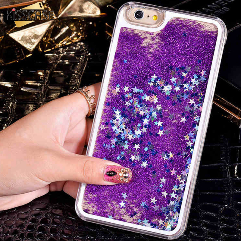 KISSCASE i6 6S Dynamic Liquid Glitter Sand Case For iPhone 6 6S 7 Plus Crystal Clear Quicksand Star Cover For iPhone 6S 7 Plus