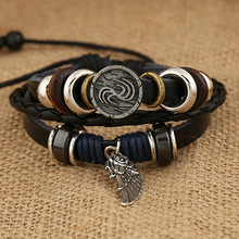 Handmade Boho Style Leather Bracelets Men Multilevel Woven Wing Bracelets