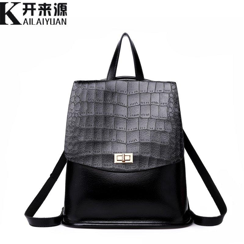 KLY 100% Genuine leather Women Backpack 2018 New shoulder bag women's leisure retro Korean fashion Backpack Crocodile Backpack