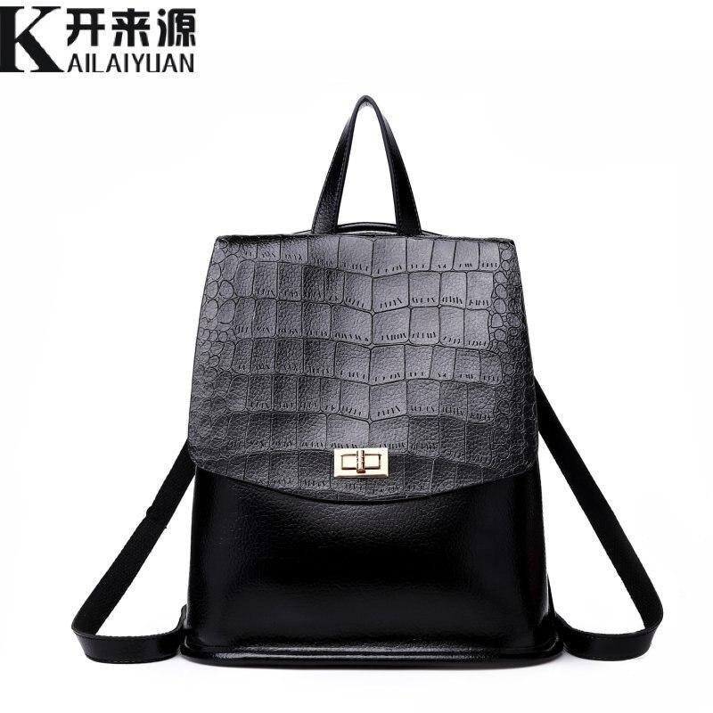 KLY 100% cuero genuino mochila de las mujeres 2018 nuevo bolso de hombro del ocio de las mujeres retro de la moda coreana mochila de cocodrilo
