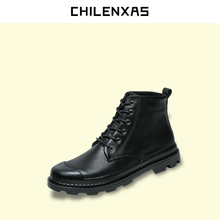 CHILENXAS 2017 Spring Autumn Leather Shoes Men Casual Height Increasing Lace-up  Solid Fashion Ankle Boots Breathable Waterproof