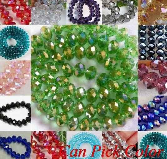 8 Mm 300 Buah/Banyak Putih T36464 Multicolor Dicampur Kaca Hitam Ragam Rondelle Manik-manik Spacer Bead Gelang DIY Perhiasan Kristal