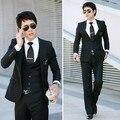 Vestido de Casamento Ternos Blazer Preto dos homens Mais Recentes Modelos Casaco Calça Smoking Cavalheiro Estilo Coreano de Alta Qualidade Casual Suits WT2