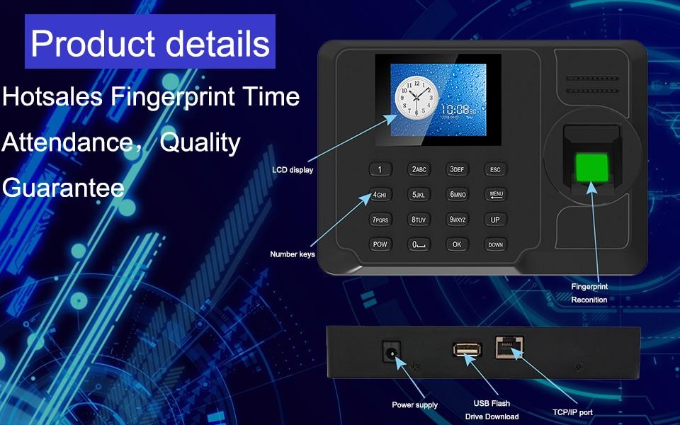Biometric Fingerprint Attendance System Machine TCPIP USB Time Clock Employee Office Time Attendance Recorder Spanish Portuguese