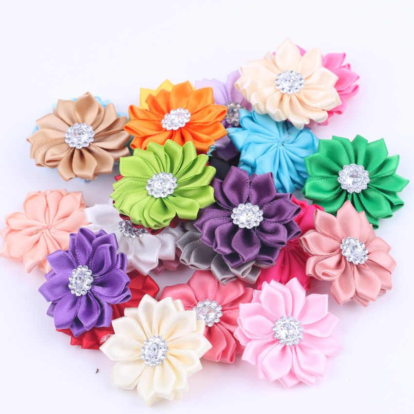 """1,6 """"20 unids/lote 16 Petaled raso rosetón flores de cinta con botón acrílico utilizado para bebé Diy pinzas para diadema accesorios para el cabello"""