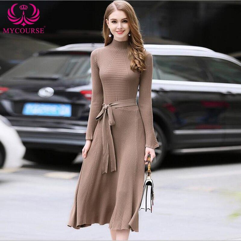 MYCOURSE Sweater Dress Big Swing Flare Sleeve Stand Collar Tunic Elegant Slim Women Clothing Casual Retro Wrap Party Dresses