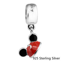 Fits Pandora Bracelets 925 Sterling Silver Jewelry Mouse Mickey Ear Hat Original Fashion Charms DIY Making