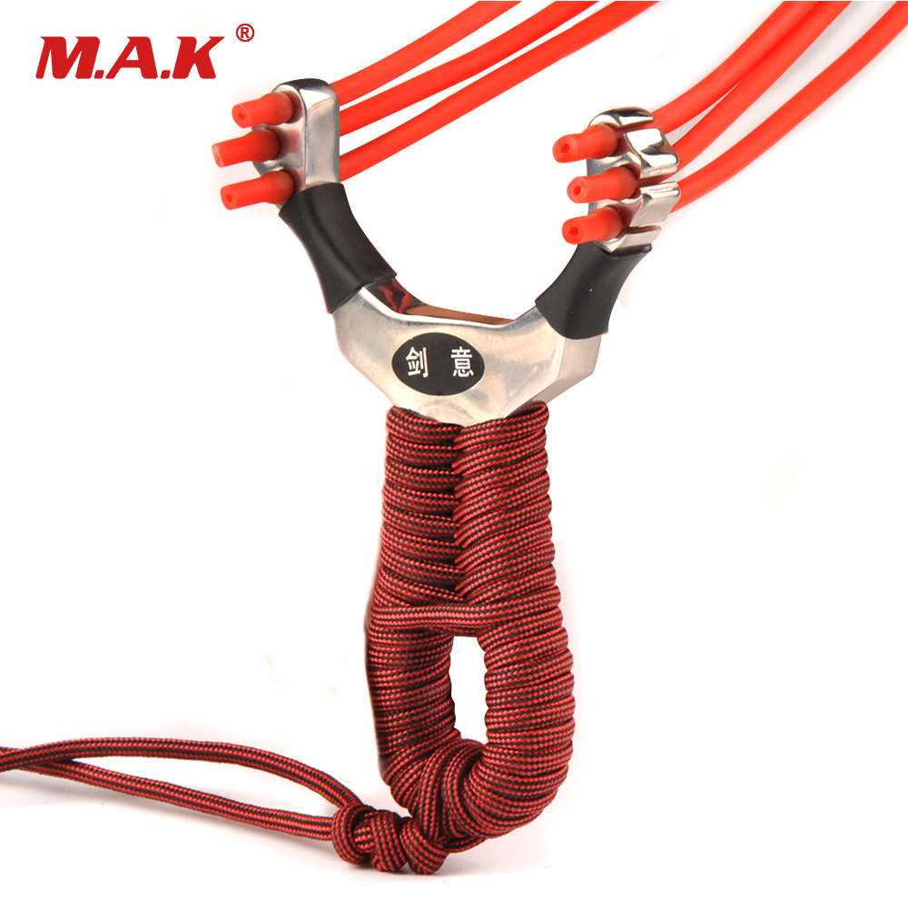 1pc Slingshot Three Slots Stainless Steel Slingshot with 3 Wrist Rubber Bands for Hunting Shooting Accessories 1pc slingshot stainless steel wrist length 11 6cm with 3 rubber bands for hunting shooting accessories archery catapult