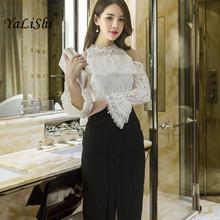 2017 New Summer Women Suit 2 Piece Set white Flare Sleeve Lace Blouse Shirt Tops and Bandage Black Long Skirt Crop Top