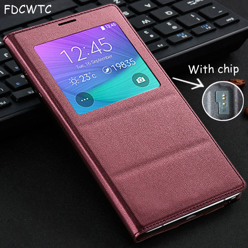 FDCWTS Flip Cover Leather Case For Samsung Galaxy Note 4 Note4 N910 N910F N910H Phone Case Cover Smart View With Original ChipFDCWTS Flip Cover Leather Case For Samsung Galaxy Note 4 Note4 N910 N910F N910H Phone Case Cover Smart View With Original Chip