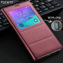 FDCWTS Flip Cover Leather Case For Samsung Galaxy Note 4 Note4 N910 N910F N910H Phone Case Cover Smart View With Original Chip