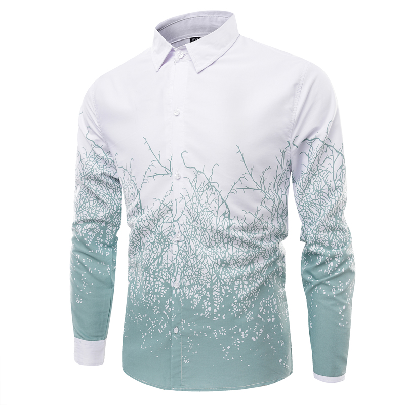 Plus Size M-4XL 2017 New Men Shirt Cotton Slim Fit Camisa Social High Quality Printing Long-Sleeved Casual Men Dress Shirt