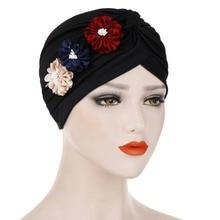 Muslim Women Ruffle Three Flowers Turban Hat Headwrap Cancer Chemo Beanies Hijab Bonnet Cap Headwear Hair Loss Accessories