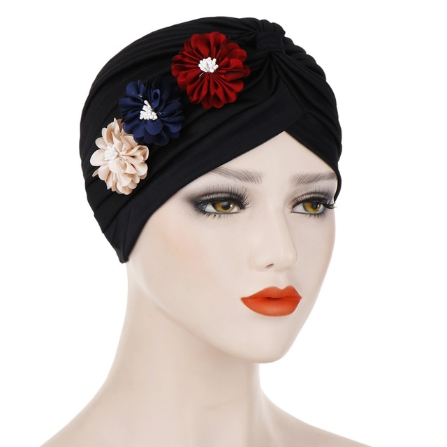 8ca784eec US $3.16 30% OFF Muslim Women Ruffle Three Flowers Turban Hat Headwrap  Cancer Chemo Beanies Hijab Bonnet Cap Headwear Hair Loss Accessories-in  Women's ...