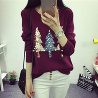 Hiqh Quality New Fall Winter Women Christmas Sequins Pearl beaded Embroidery Luxury Knitting Sweater Loose Casual Pullover Tops