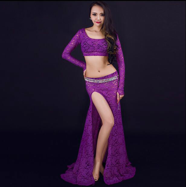 Newest belly dance clothes font b women b font lace long sleeves top font b skirt