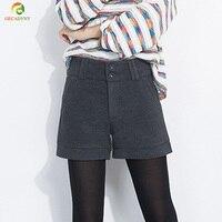 Fashion Slim Dames Wollen Shorts Vrouwen Mid Taille Wol Shorts Verdikking Casual Herfst Winter Vrouwen Shorts Met De Voering