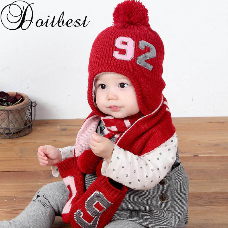 Doitbest 6 Momths To 2 Years Kid Beanie Two Braids Hair Bull Kids Boys Knit Fur Hats Wool Winter 2 Pcs Baby Girl Scarf Hat Set
