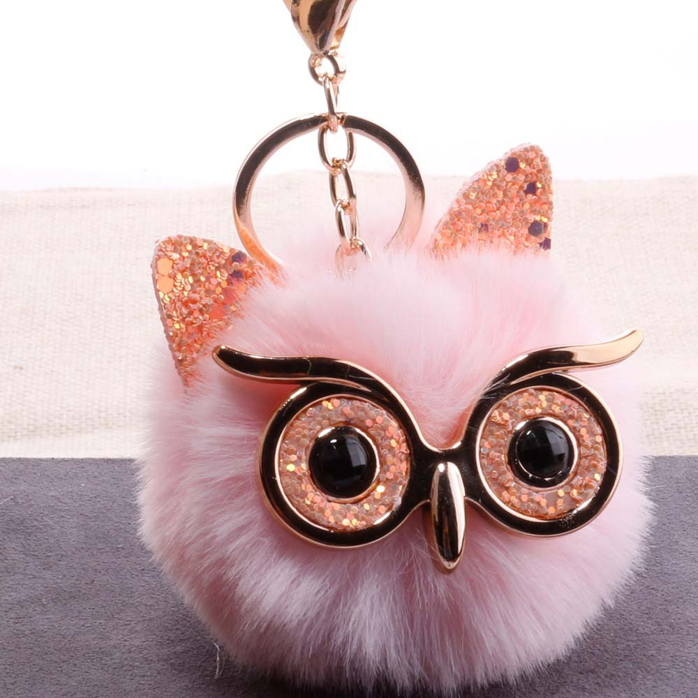 QiYuFang Cute Pompom Owl Keychain Pom Pom Ladies Bling Bling Rabbit Fur Ball Pompon Porte Clef Fluffy Key Ring Car Bag Keychain