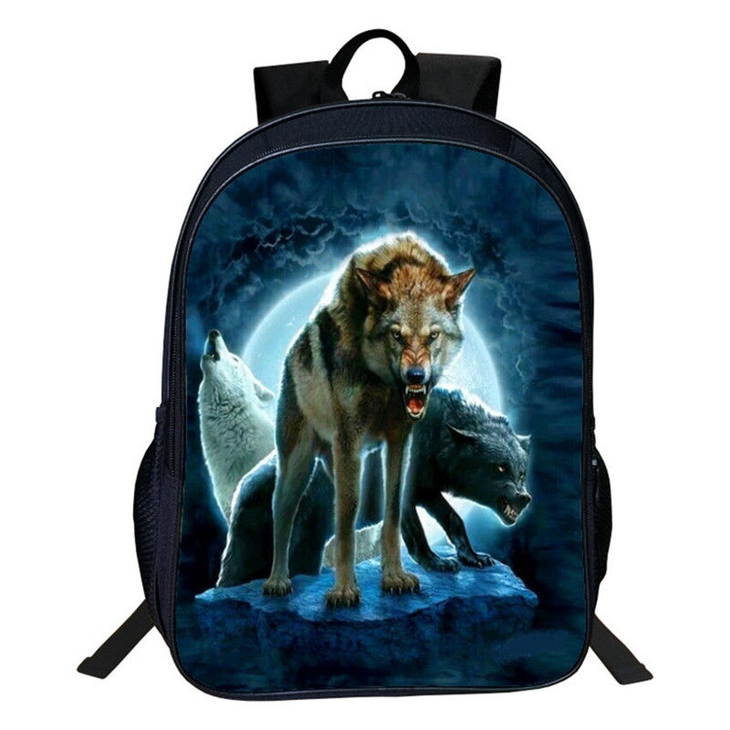 Animal Wolf Bags High Capacity Backpacks For Teenage Boy Girls 16 Inch Dog Dragon Horse Shark Eagle Cat Unicorn School