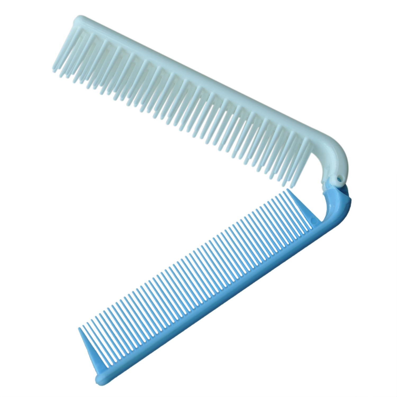 Travel Skyblue Coarse Teeth Folding Dual Hair Brush Pocket Comb 7.4 Length