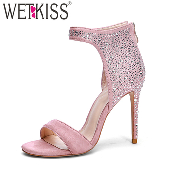 WETKISS Summer Occident High Heels Women Sandals Fashion Zipper Crystal Party Sandals Shoes 2018 New Open Toe Flock Footwear
