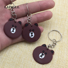LINE Hot brown bear Cartoon Key Chain Strap Trinket Ring Kids Toy Pendant Anime Figure Animal Charms Holder ATC006