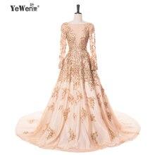 Gold with ivory Evening Dresses Crystal 2017 party Women Prom Gowns Long fomal dress robe de soiree vestido longo de festa