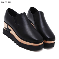 HAIYUELI Autumn Ankle Boots Leopard High Heels Wedge Platform Shoes Fashion Comfortable Casual Square Head Women