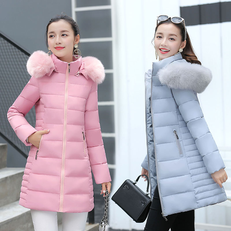 2017 Free Shipping New Autumn And Winter Fur Collar Hooded Coat Wear Down Cotton Winter Jacket Women Slim Long Coats