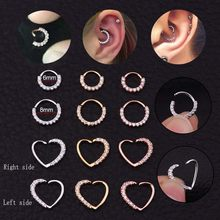 2019 New Arrival1PC CZ Hoop Nose Septum Ring Heart Daith Piercing Tragus Cartilage Helix Earring Body Jewelry(China)