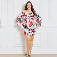Plusee 2018 Spring Off Shoulder Pencil Dress Women Long Flare Sleeve Bodycon Dress Fashion Floral Print